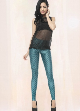 Blue Mermaid Animal Print Leggings