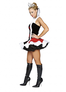 White High Collar Alice Queen of Red Hearts Halloween Bubble Costume