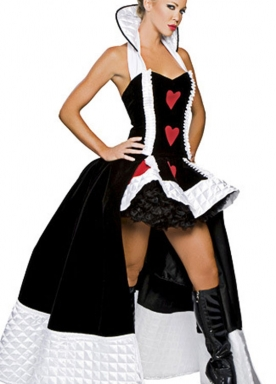White High Collar Red Heart Halloween Bubble Costume