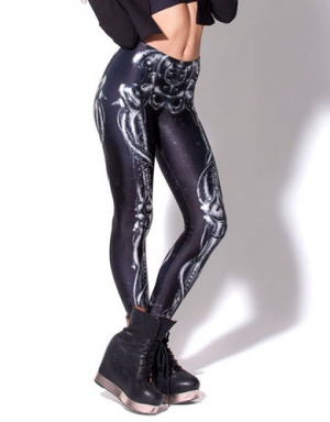 Womens White Bones Skeleton Line Sexy Leggings
