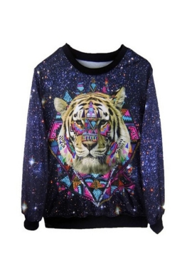 Tiger Head Galaxy Printed Pullover Sweatshirt
