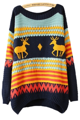 Womens Ugly Reindeer Striped Christmas Jumper Holiday Sweater