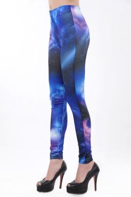 Blue Galaxy Cloud Print Leggings