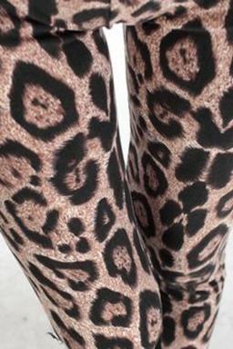 Coffee Leopard Fur Print Animal Print Leggings