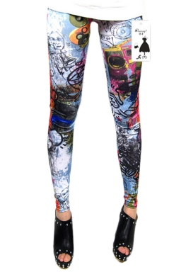 Black High Waist Graffiti Printed Leggings