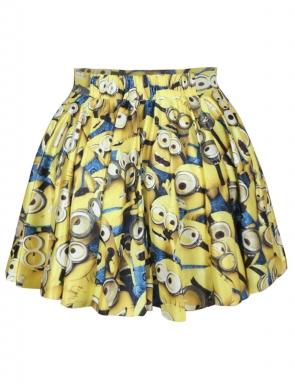 Yellow Womens Cute Minions Trendy Pleated Skirt