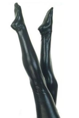 Black Sexy Womens PU Leather Long Stocking