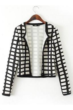 Black and White Classic Womens Plaid Long Sleeve Blazer