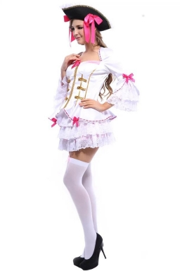 White Charming Ladies Halloween Pirate Costume