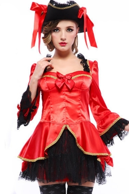 Red Fashion Womens Pirate Halloween Costume