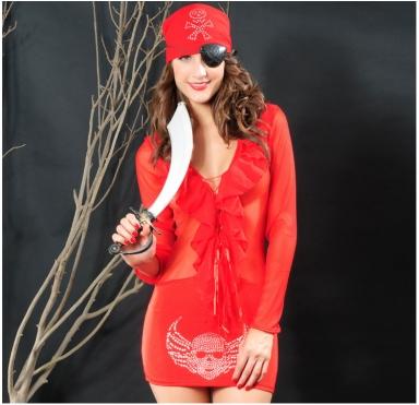 Red Stunning Ladies Sexy Halloween Pirate Costume