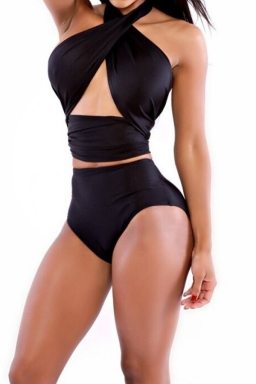 Womens Sexy Bandage Bikini Top & High Waisted Swimsuit Bottom Black