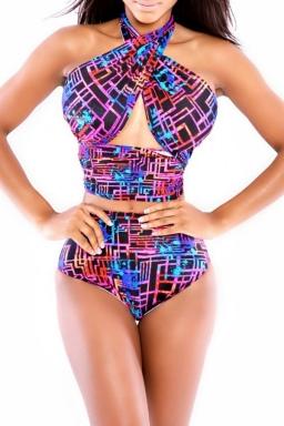 Sexy Printed Bandage Bikini Top & High Waisted Swimsuit Bottom