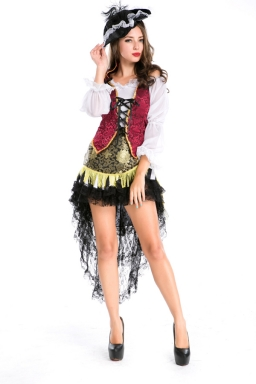 Black Showgirl Halloween Pirate Costume