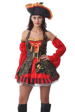 Red Halloween Sexy Ladies Halter Pirate Costume