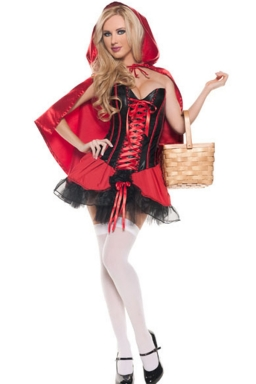 Red Fairytale Red Riding Hood Corset Halloween Womens Costume