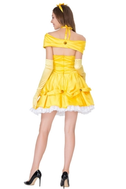 Womens Sexy Halloween Belle Beauty Beast Fairytale Costume Gold