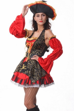Red Sexy Womens Halloween Halter Pirate Costume