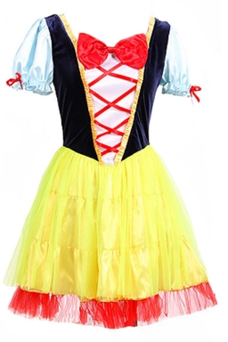 Yellow Pretty Womens Snow White Halloween Fairytale Costume