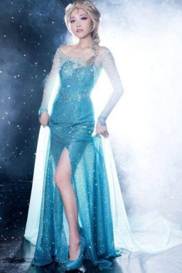 Womens Halloween  Frozen Snow Queen Elsa Fancy Dress Costume Blue