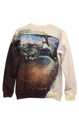 White Cool Womens Sloth Printed Crew Neck Jumper Sweatshirt