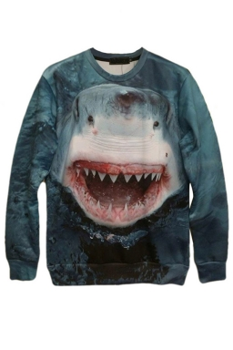 Blue Womens Crew Neck Pullover Shark Printed Sweatshirt