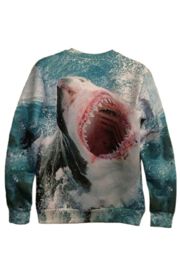 Blue Womens Crew Neck Jumper Craze Shark Printed Sweatshirt