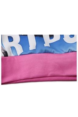 Pink Sexy Womens Lady Gaga Crew Neck Pullover Printed Sweatshirt