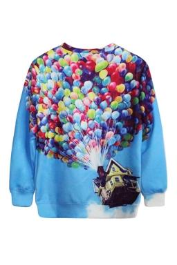 Blue Movie Up Printed Fancy Ladies Pullover Long Sleeves Sweatshirt