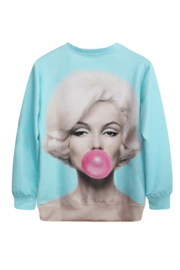 Blue Womens Sexy Pullover Marilyn Monroe Balloon Printed Sweatshirt