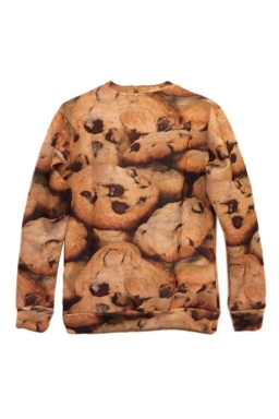 Beige Womens 3D Cookie Printed Pullover Long Sleeves Sweatshirt