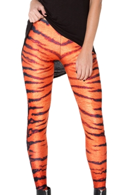 Orange Classic Womens Cool Tiger Stripes Printed Leggings