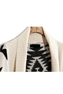 Beige Elegant Ladies Long Sleeve Aztec Cardigan Sweater Coat