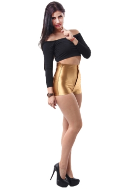 Gold Elegant Ladies Plain Liquid High Waist Short