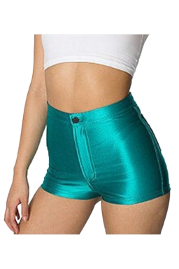 Green Elegant Ladies Plain Liquid High Waist Short