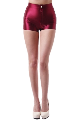Ruby Elegant Ladies Plain Liquid High Waist Short