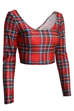 Red Long Sleeves Classic Plaid Crew Neck Crop Top