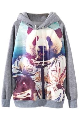 Gray Cool Ladies Panda Motorcyclist Pullover Printed Hoody
