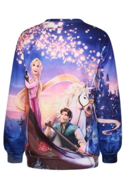 Purple Chic Womens Rapunzel Printed Crew Neck Pullover Sweatshirt