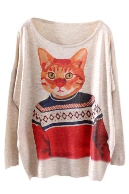 Beige Cool Womens Cat Model Pattern Oversized Pullover Sweater