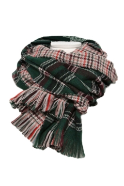 Green Trendy Womens Fringe Houndstooth Pattern Plaid Scarf