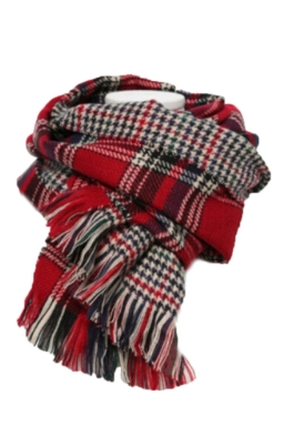 Red Trendy Womens Fringe Houndstooth Pattern Plaid Scarf