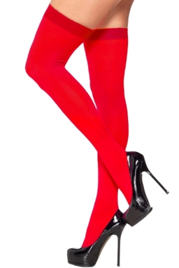 Red Modern Ladies Candy Color Plain Long Stockings