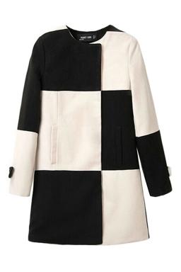 Black and White Sexy Ladies Plaid Color Block Tweed Coat