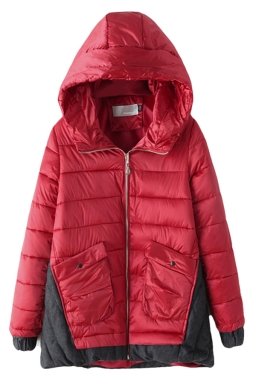 Red Fashion Womens Long Color Block Hooded Quilted Coat
