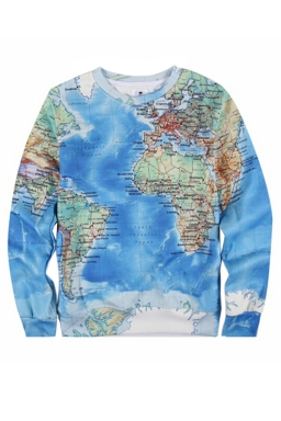Thick World Map Printed Womens Chic Pullover Jumper Sweatshirt