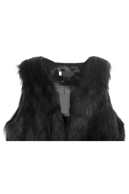 Womens Trendy Warm Winter Faux Fur Vest Black