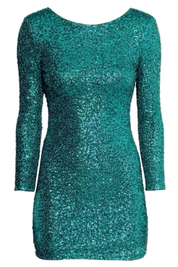 Green Charming Ladies Backless Mesh Sequined Long Sleeve Dress