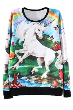 White Ladies Crew Neck Jumper Unicorn Rainbow Printed Sweatshirt
