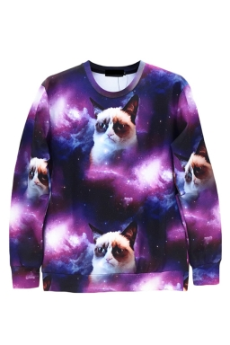 Purple Ladies Pullover Crew Neck Grumpy Cat Printed Sweatshirt